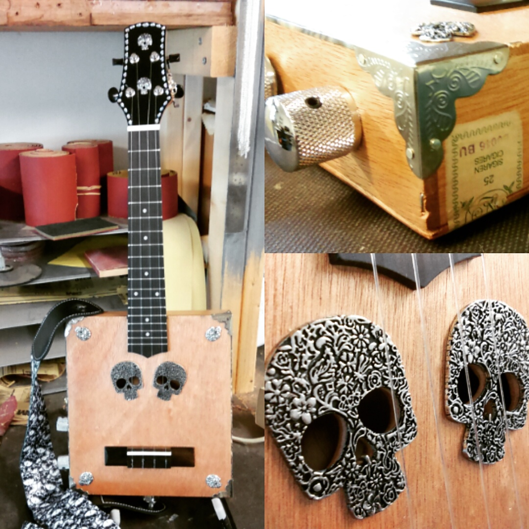 The Skullduggery Uke - Electric Cigarbox Ukulele